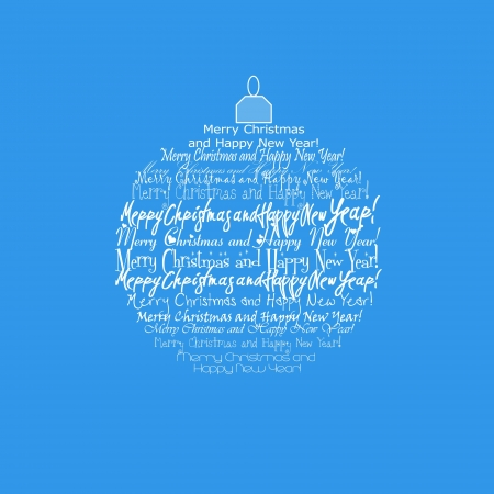 Happy New Year and Merry Christmas on a Christmas toy on a blue background photo