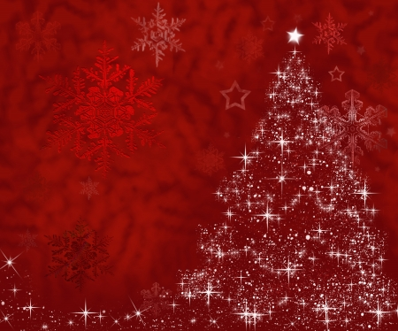 free christmas background: Christmas tree made of stars on red background with free space
