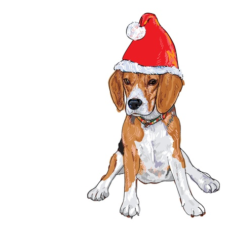 Santa Beagle wish you Merry Christmas and Happy New Year Stock Illustratie