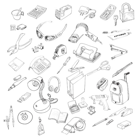 Set of Office equipment and stationery  Vector