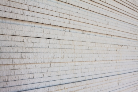 sheetrock: The stack of gypsum board preparing for construction