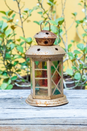 Vintage lamp decorated by coloring glass photo