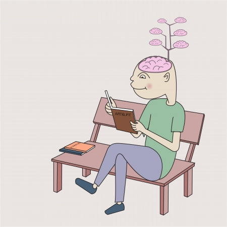 enrich: A man reading book and the brain growing