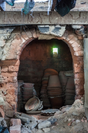 kiln: The stack of clay pottery in the kiln