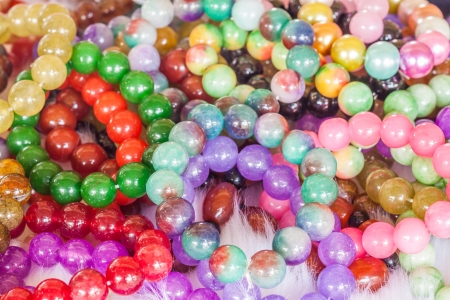 Colourful bead necklace with shinny vivid color photo
