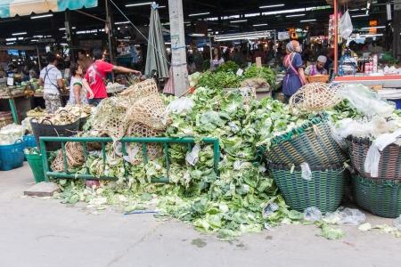 BANGKOK,THAILAND-OCTOBER 6 Pile of vegetable throw away as garbage at fresh-food market on October 6,2013 in Bangkok Thailand
