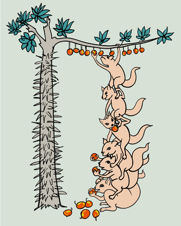 objections: Concept idea  Unity to success,squirrel stand on other back to pick fruit on high tree that full with thorn