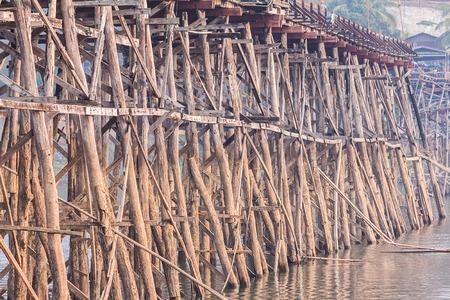 Collapse of biggest wooden bridge in Sankhaburi,Thailand Stock Photo