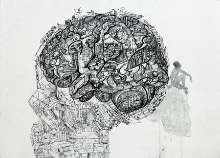 contain: Drawing of human head contain a lot of stuff with the man thinking on skull,ink on canvas  Stock Photo