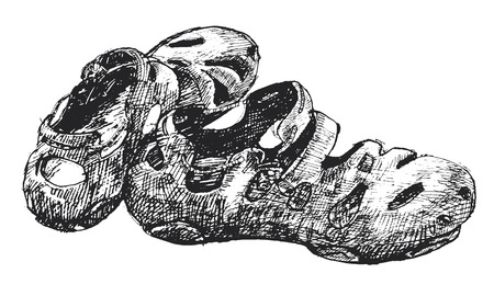 tracing: Tracing from hand drawing pair of black rubber shoe