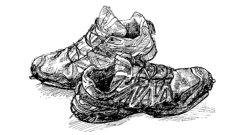 tracing: Tracing vector from hand drawing pair of old running shoe