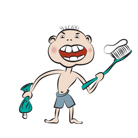 Boy prepare to brush his teeth by big toothbrush. (blending effect) Vector