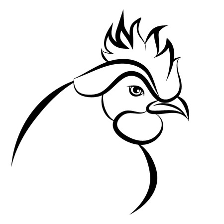 Line art of cock on white background  Vector