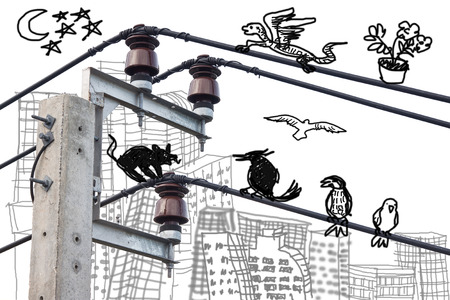 electricity post: Electricity post onwhite background with doodle drawing