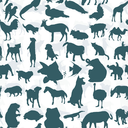 Seamless pattern of silhouette set of animals Vector