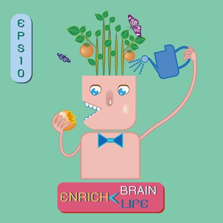 enrich: Enrich brain ,enrich life.Concept idea- brain growth like fruit plant growth for feeding life