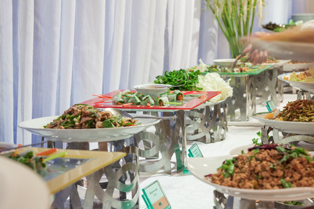 Buffet prepare for guest in wedding party photo