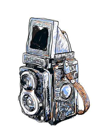 reflexe: Vecteur de peinture ancienne reflex jumeau sur fond blanc Illustration