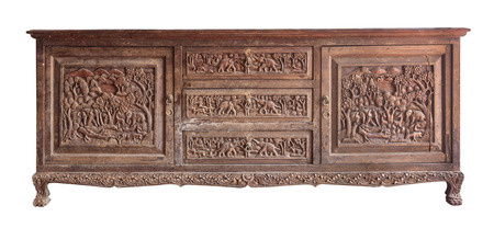 Old brawn carving wooden cabinet, property of one Thai temple, with clipping path photo