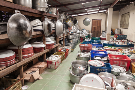 storeroom: Wat Bamgmaung ,Many kitchen utensils keep in storeroom for using normally in temple and for villager borrow when they have arrangement ,wedding,undertaking or any party