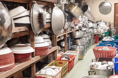 undertaking: Wat Bamgmaung ,Many kitchen utensils keep in storeroom for using normally in temple and for villager borrow when they have arrangement ,wedding,undertaking or any party