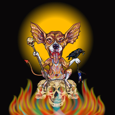 Devil dog holding staff and hanging man with black crow on hand sitting on burning skulls-concept idea for Halloween day Vector