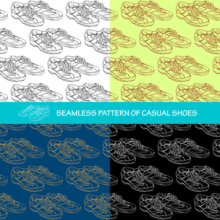 Set of seamless pattern background  a pair of casual shoes