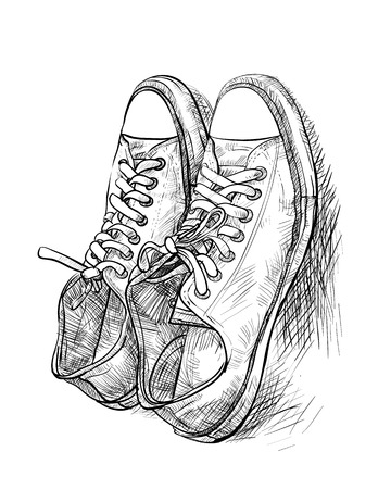 Hand drawing a pair of casual shoes with shade - vector