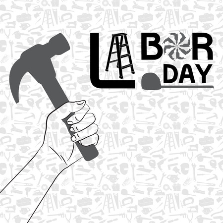 Hand holding hammer with pattern of tool background- labor day concept Ilustração