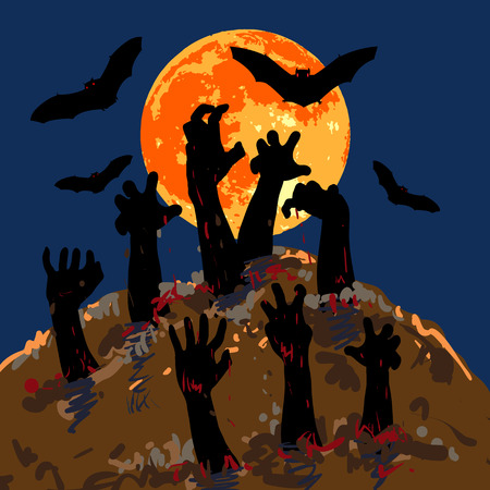 rising dead: Zombiess hands emerge from grave with background of full moon and flying bat
