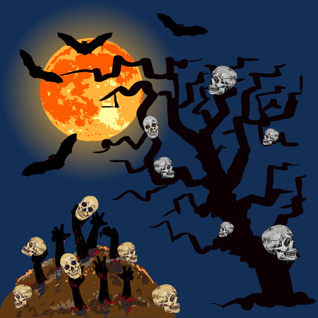 rising dead: Zombiess hands emerge from grave with skull under full moon Illustration