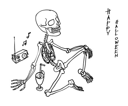 Skeleton sitting and relaxing by drinking and listening radio. halloween concept Vector