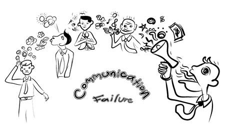 communication cartoon: Doodle cartoon,concept of communication failure,vector illustration