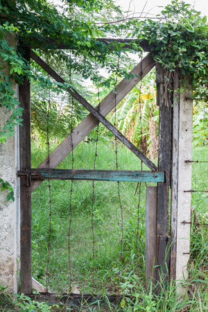Old wooden and barbed wire door,entrance of garden photo