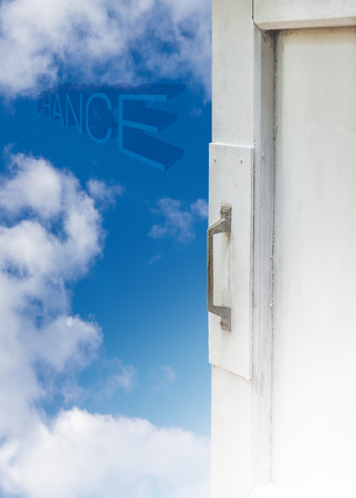 clound: Opened white window with blue sky and cloud,concept idea for new chance