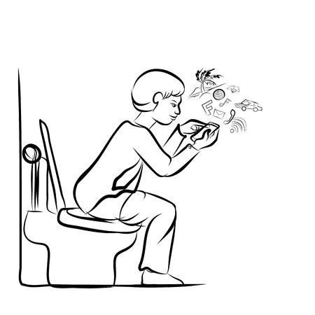 Drawing of man using mobile phone for social network in toilet