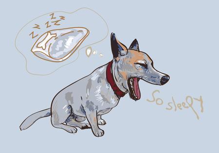 yawning: Drawing of adorable yawning dog while thinking to bed Illustration