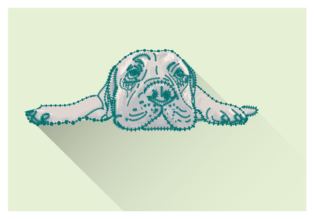 Drawing of  lying bull mastiff with long shadow on green background