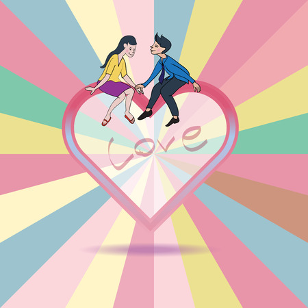 woman floating: Lover express love on heart shape floating on rainbow background