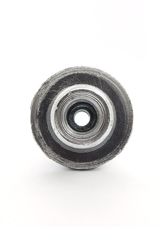 Spare part of motorcycle,bolt nut screw for decorating and maintenance on white background Stock Photo