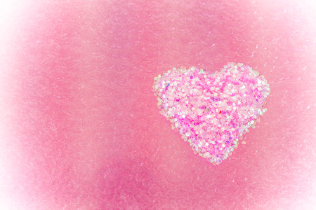 pink heart: Heart shape on colour background,valentines background,vintage style Stock Photo