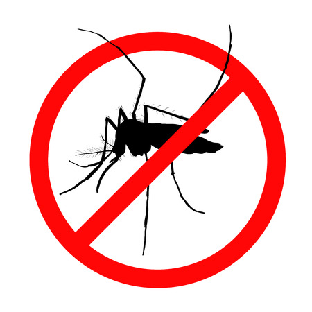 mosquitoes: Prohibition sign for mosquitos on white background