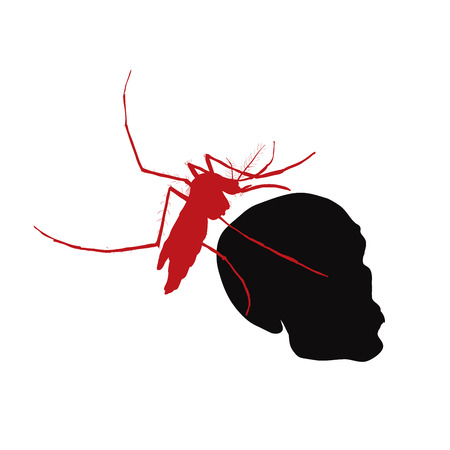 mosquitoes: Red mosquito hold on human skull,concept for illness and health Illustration