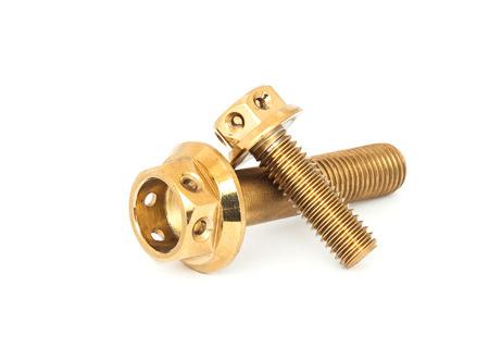 Isolated gold nut on white background Stock Photo