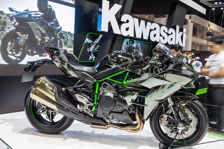 nontaburi: NONTABURI, THAILAND - 2 DEC : Kawasaki Ninja H2,Built Beyond Belief, showed in 31th Thailand International Motor Expo on 2 December 2014 Editorial