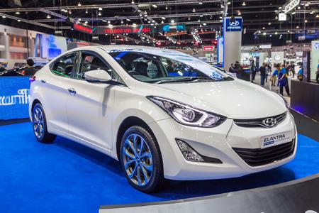 nontaburi: NONTABURI, THAILAND - 2 DEC : Hyundai Elantra , a compact car ,on display  showed in 31th Thailand International Motor Expo on 2 December 2014 Editorial