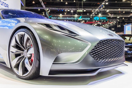 nontaburi: NONTABURI, THAILAND - 4 DEC : Hyundai Genesis Coupe, HND-9 Venace Concept ,calling it a luxury sports coupe concept , showed in 31th Thailand International Motor Expo on 4 December 2014 Editorial