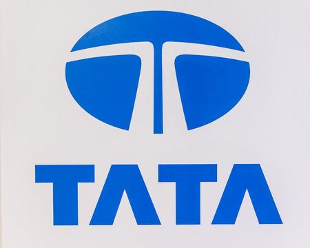 nontaburi: NONTABURI, THAILAND - 4 DEC : Tata logo on white background, showed in 31th Thailand International Motor Expo on 4 December 2014 Editorial