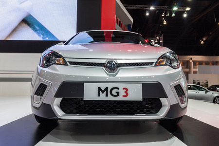 motor launch: Nonthburi,Thailand - March 26th, 2015: New launch MG3,smart-looking small car,showed in Thailand the 36th Bangkok International Motor Show on 26 March 2015