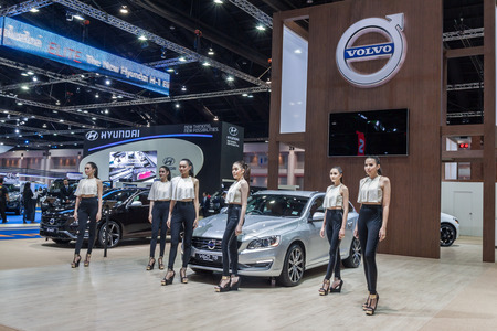 t5: Nonthburi,Thailand - March 26th, 2015: Volvo V60 T5 Sport Wagon,petrol-electric hybrid systems,showed in Thailand the 36th Bangkok International Motor Show on 26 March 2015
